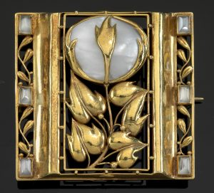 Brosche Blumen Gold Hoffmann Wiener Moderne