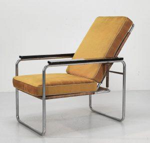 Sessel Sitzmaschine Bauhaus gelb Stoff