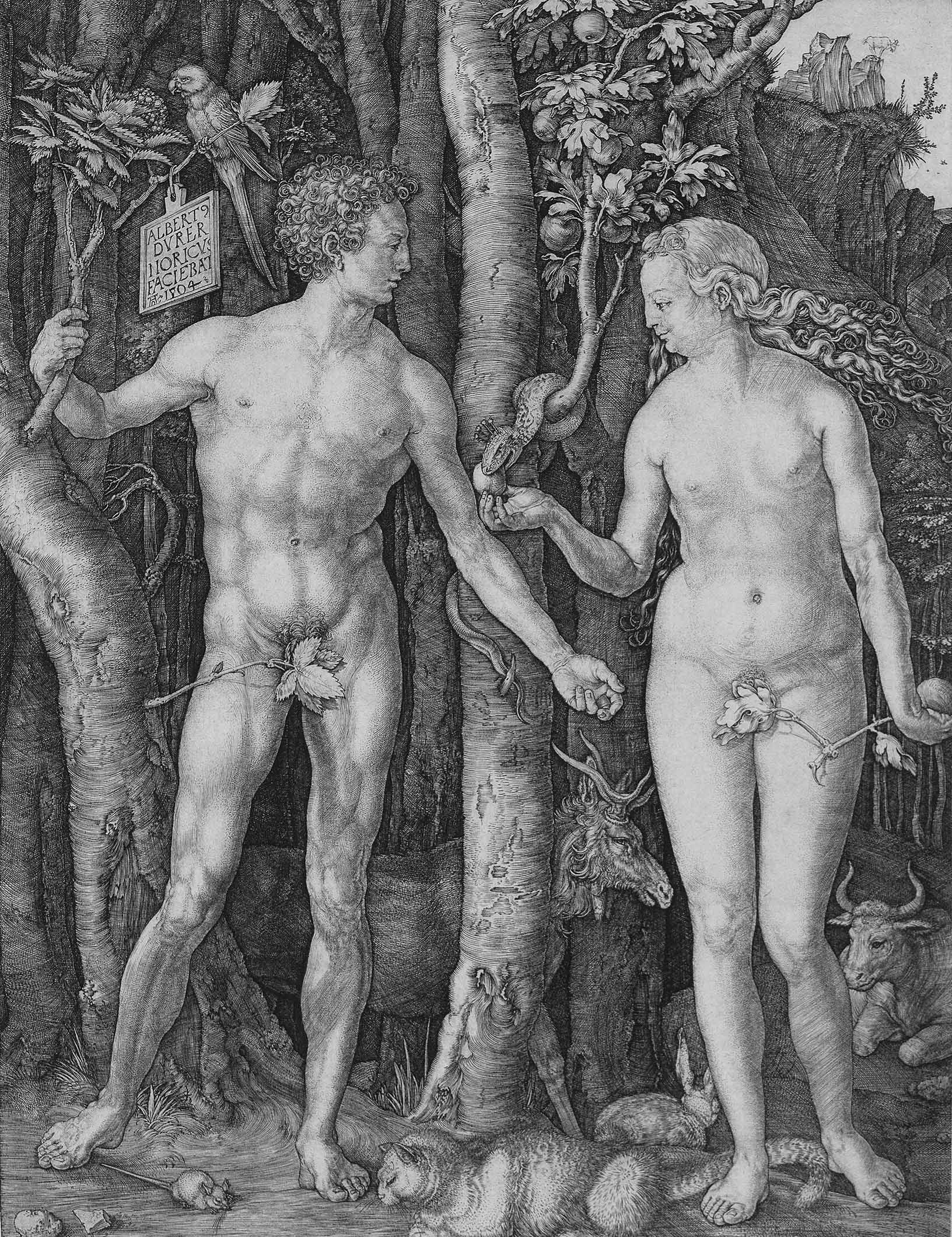 Albrecht Dürer (Nuremberg 1471–1528), Adam and Eve, copper engraving, monogrammed and dated in the plate AD 1504, 24.9 x 19 cm, realised price € 41,780.00, sold on 4 Nov. 2010