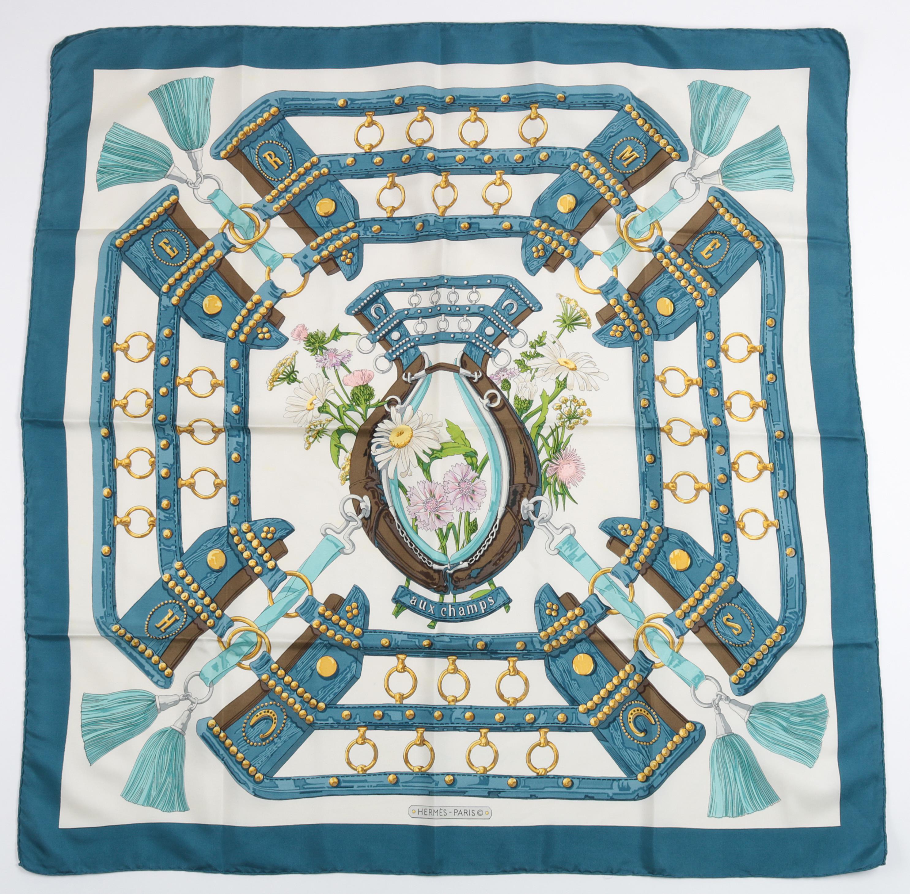 Hermès scarf 'Aux Champs', designed by Cathy Latham in 1970, silk, approx. 89 x 89 cm, starting bid €180