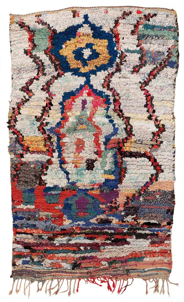 Boucherouite, Morocco, c. 210 x 135 cm, first half of the 20th century. These exceptional Berber carpets from the 1930s used to be made for personal use only, with a pattern featuring original Berber motifs, and a pile consisting of scraps of fabric, price realised € 1,397
