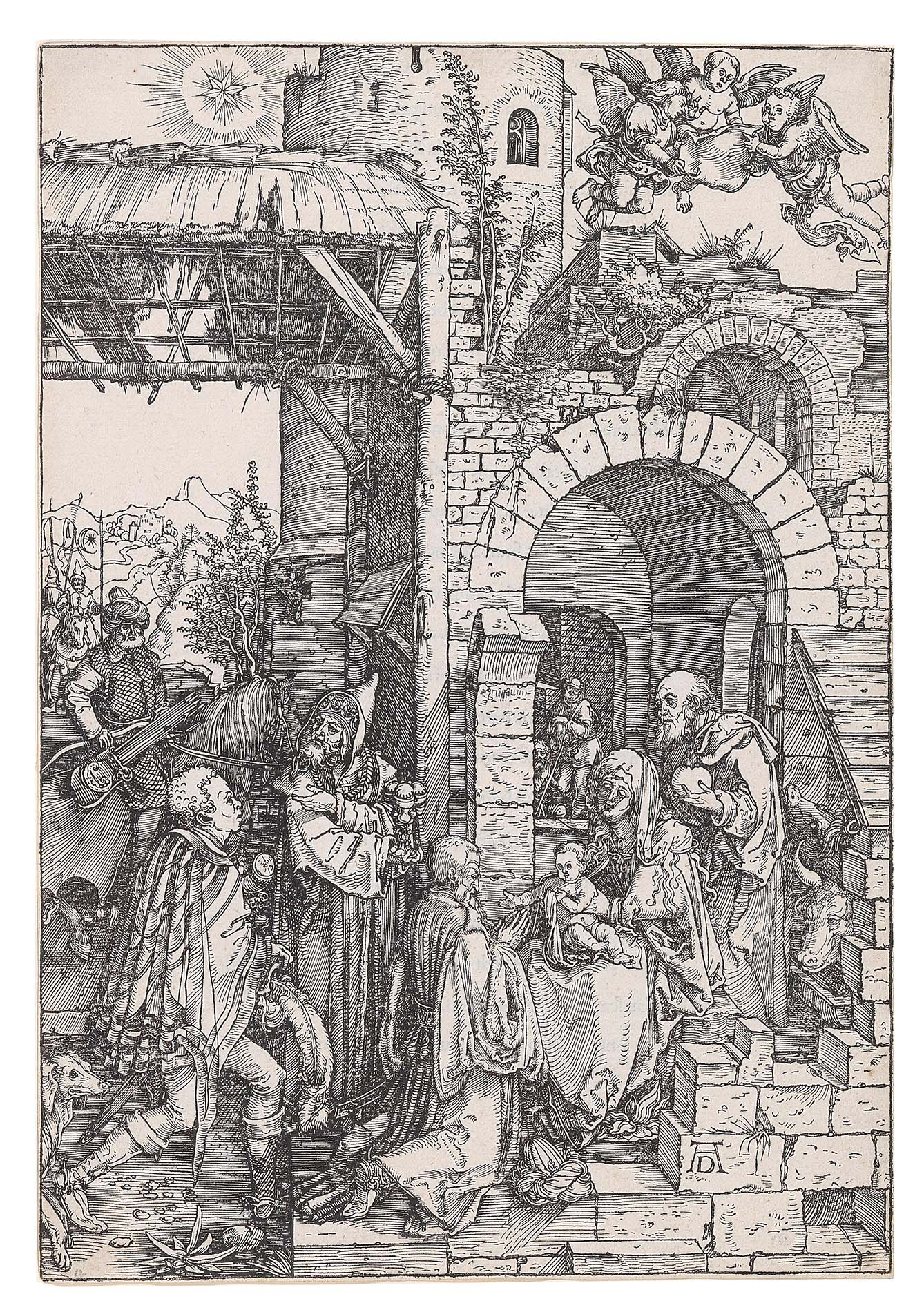 """Albrecht Dürer, (Nuremberg 1471–1528) The Adoration of the Magi, c. 1503, plate 12 from """"The Life of the Virgin"""", monogrammed AD, woodcut on laid paper with watermark """"tower with crown on top"""" (Meder 259), 30,2 x 21 cm, Starting bid €4,000"""