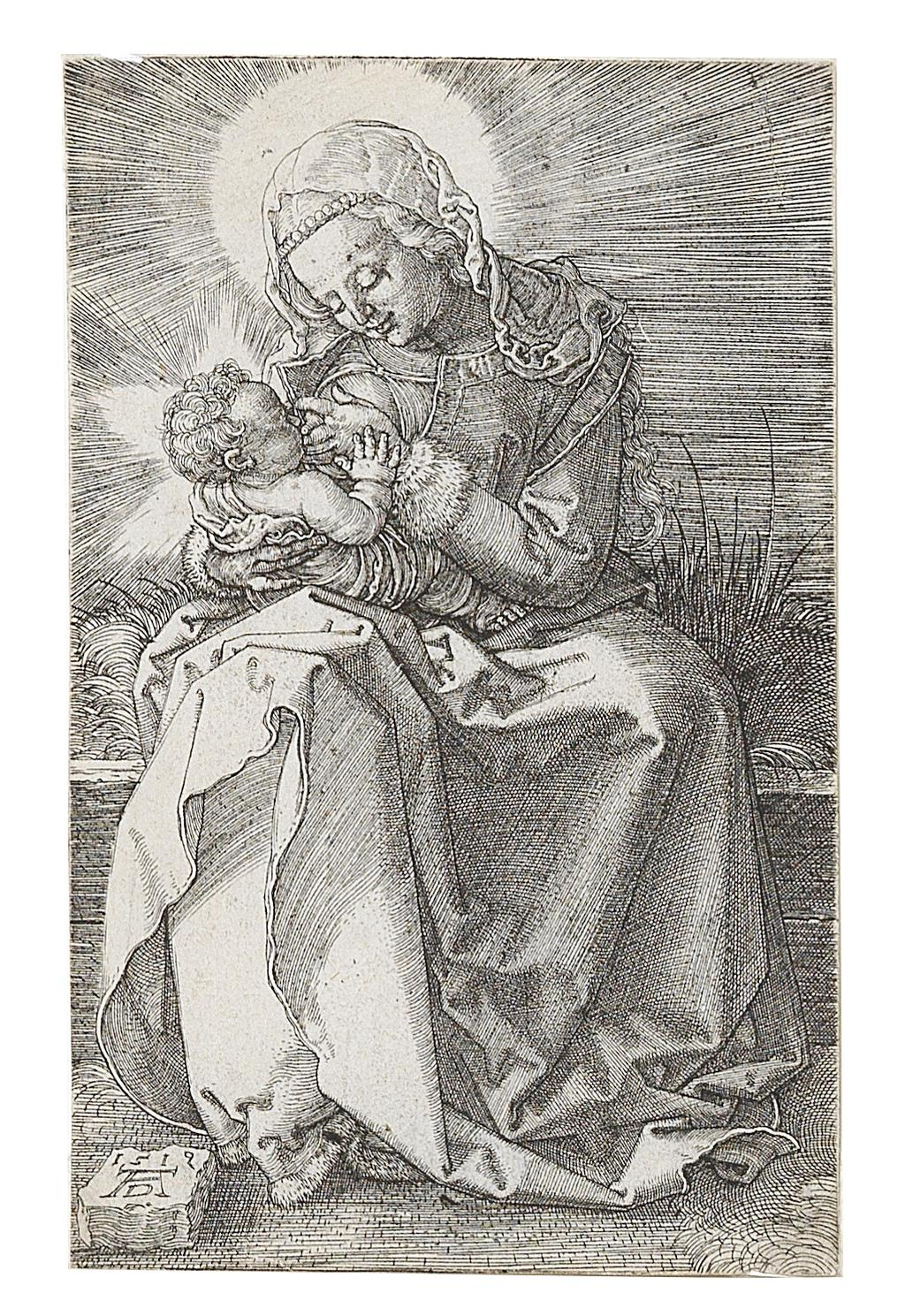Albrecht Dürer, (Nuremberg 1471–1528) The Madonna nursing the child, engraving on laid paper, monogrammed and dated AD 1519 in the plate, 11,7 x 7,5 cm, Starting bid €6,000