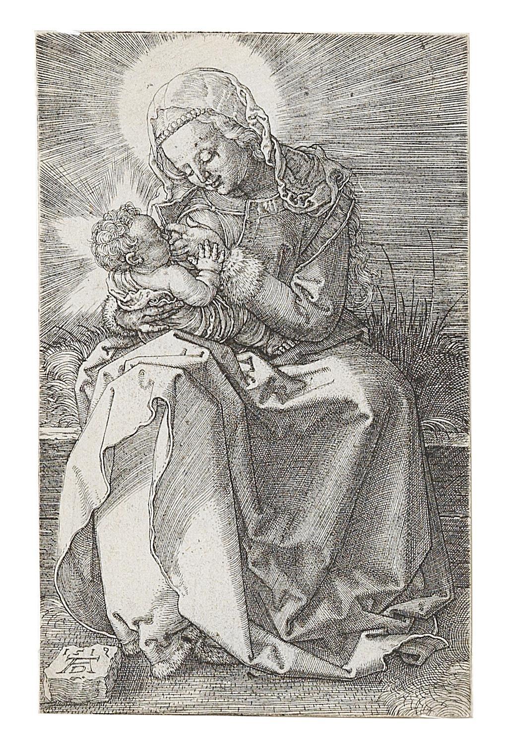 Albrecht Dürer, (Nürnberg 1471–1528) Maria, das Kind säugend, Kupferstich, in der Platte monogrammiert und datiert AD 1519, 11,7 x 7,5 cm, € 6.000