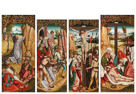 South German School (c. 1490) Four altar wings of a former triptych, oil on panel, 198 x 88 cm, 189 x 79.5 cm, 189.5 x 79.5 cm, 200 x 87.5 cm, Starting bid €500,000 – 600,000