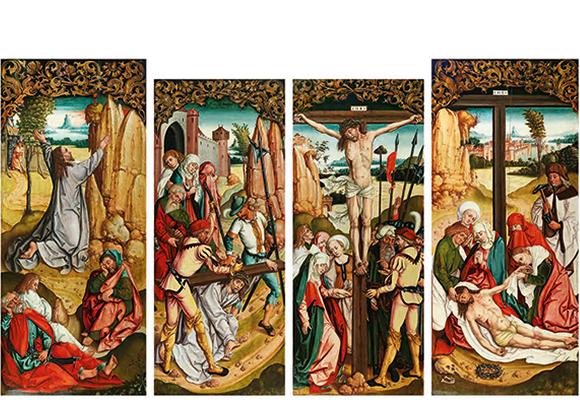 Süddeutsche Schule, um1490,Vier Altarflügel eines ehemaligen Triptychons, Öl auf Holz, 198 x 88 cm, 200 x 87,5 cm, 189 x 79,5 cm, 189,5 x 79,5 cm, gerahmt, Pendants (4) Startpreis €500.000 – 600.000