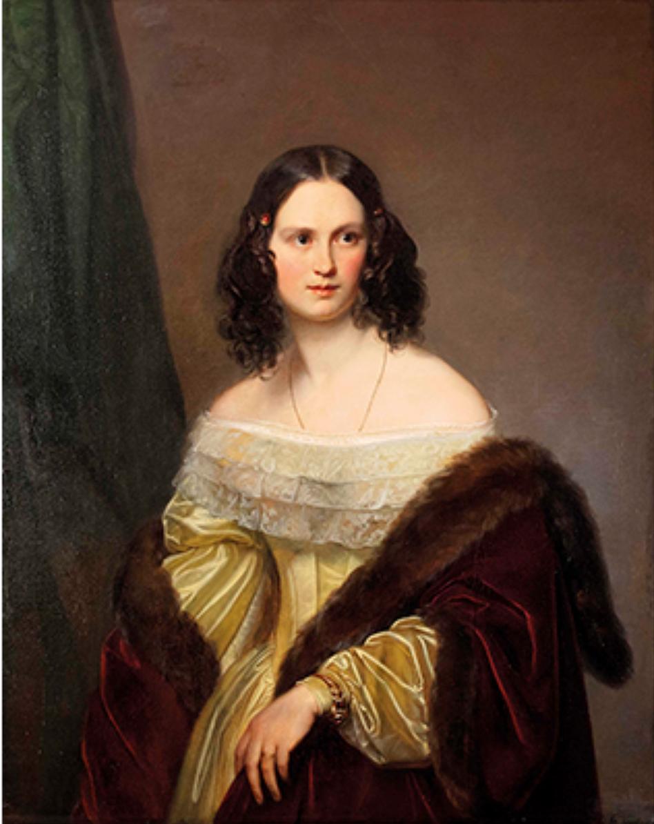 Carl Christian Vogel von Vogelstein (Wildenfels 1788-1868 München) Porträt Ida Helene Caroline von Siebold, geb. von Gagern (1820-1877) 184?, Öl auf Leinwand, ca. 101 x 80 cm, erzielter Preis € 8.960