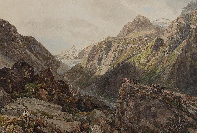 Thomas Ender (1793–1875), Die Ganseralpe im Pinzgau, ein Hirte und Ziegen, Aquarell auf Papier auf Karton kaschiert, 26 x 37 cm, erzielter Preis € 12.800