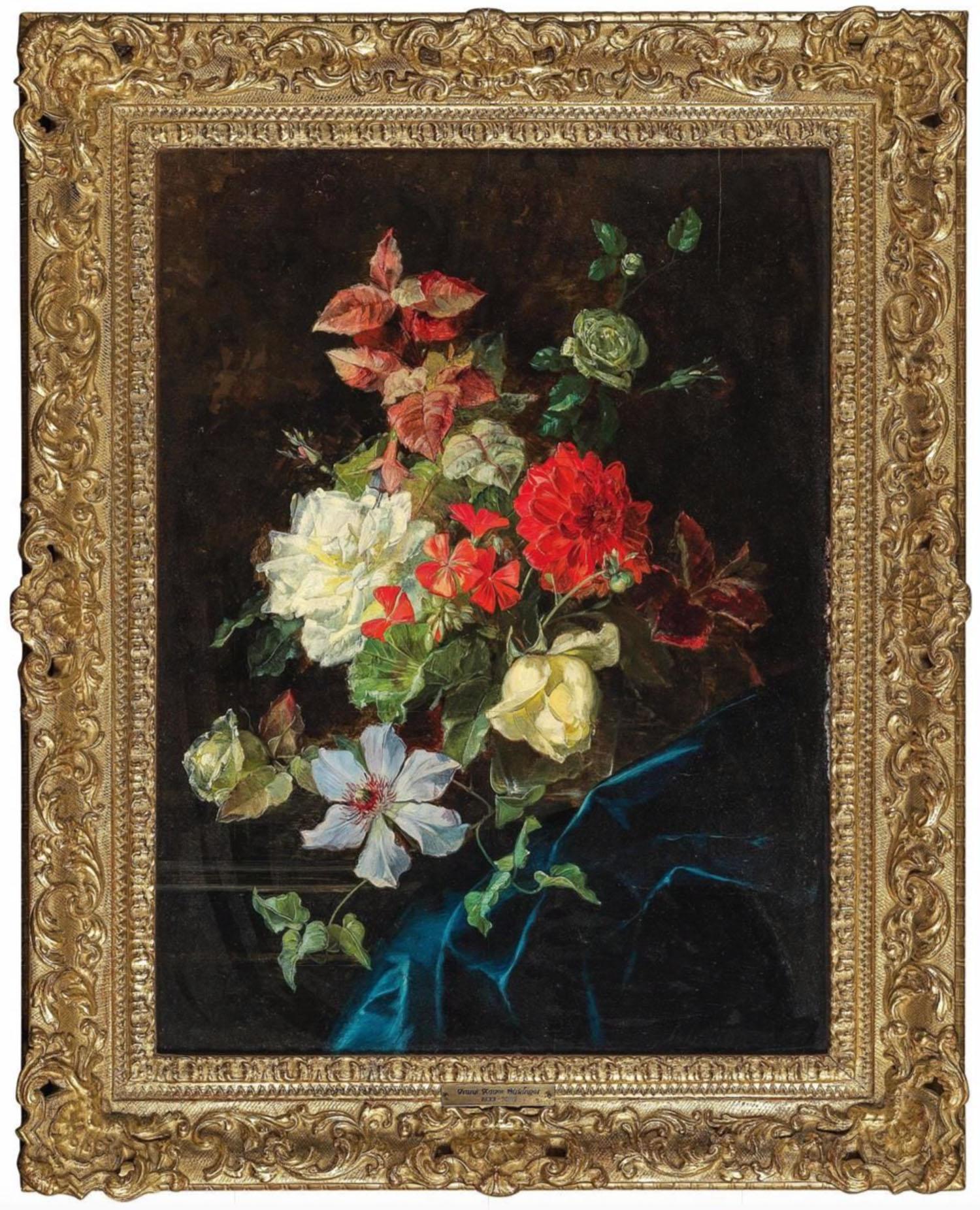Franz Xaver Birkinger(Augsburg 1822-1906 Wien), Blumenstück mit Rosen und Clematis, Öl auf Holz, 56 x 42 cm, Startpreis €2.000