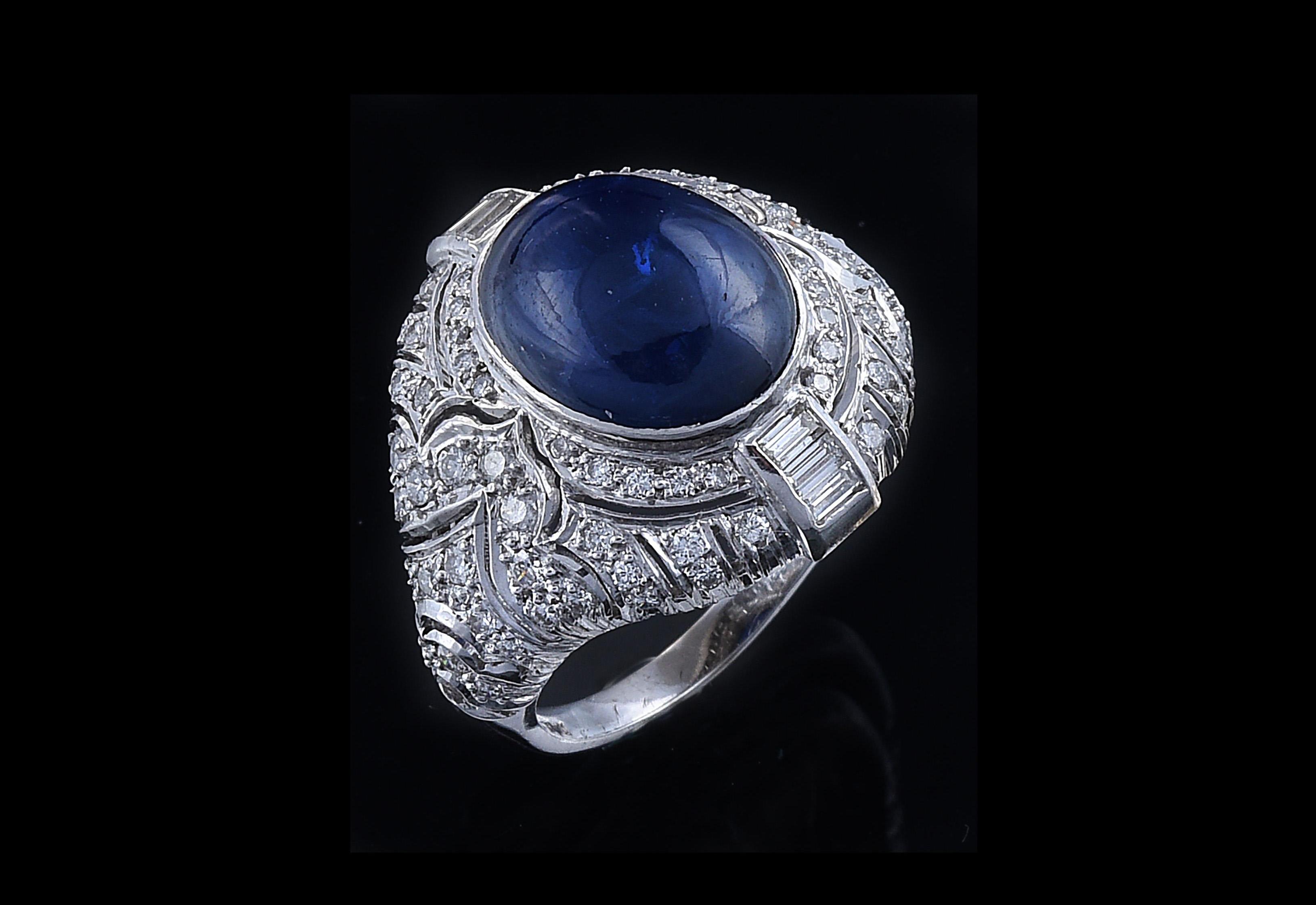 Diamant Saphir Ring, Weißgold 750, Brillanten und Diamanten im Baguetteschliff zus.ca. 1 ct, Saphir im Cabochonschliff ca. 8 ct,Startpreis € 4.000