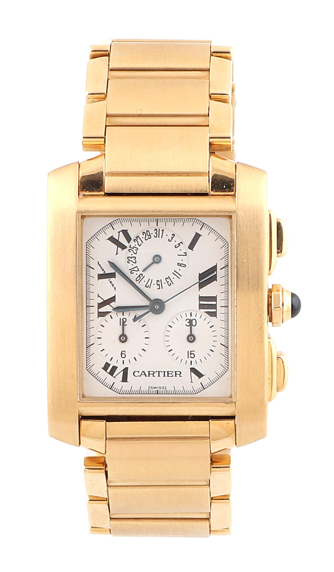 Cartier Tank Francaise Chronograph, gold 750, Starting bid €6,000