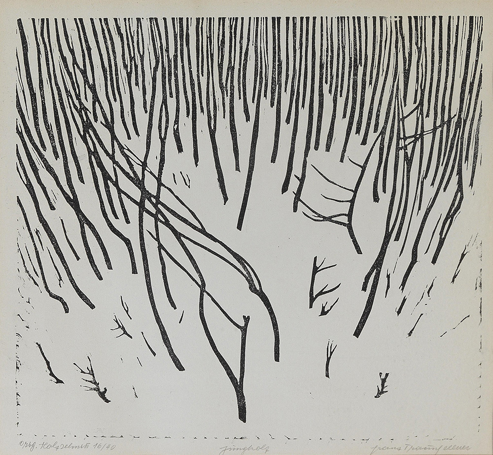 "Franz Traunfellner,""Jungholz"", 1964, woodcut on vellum,1964, 29.5 x 32 cm, starting bid €400"