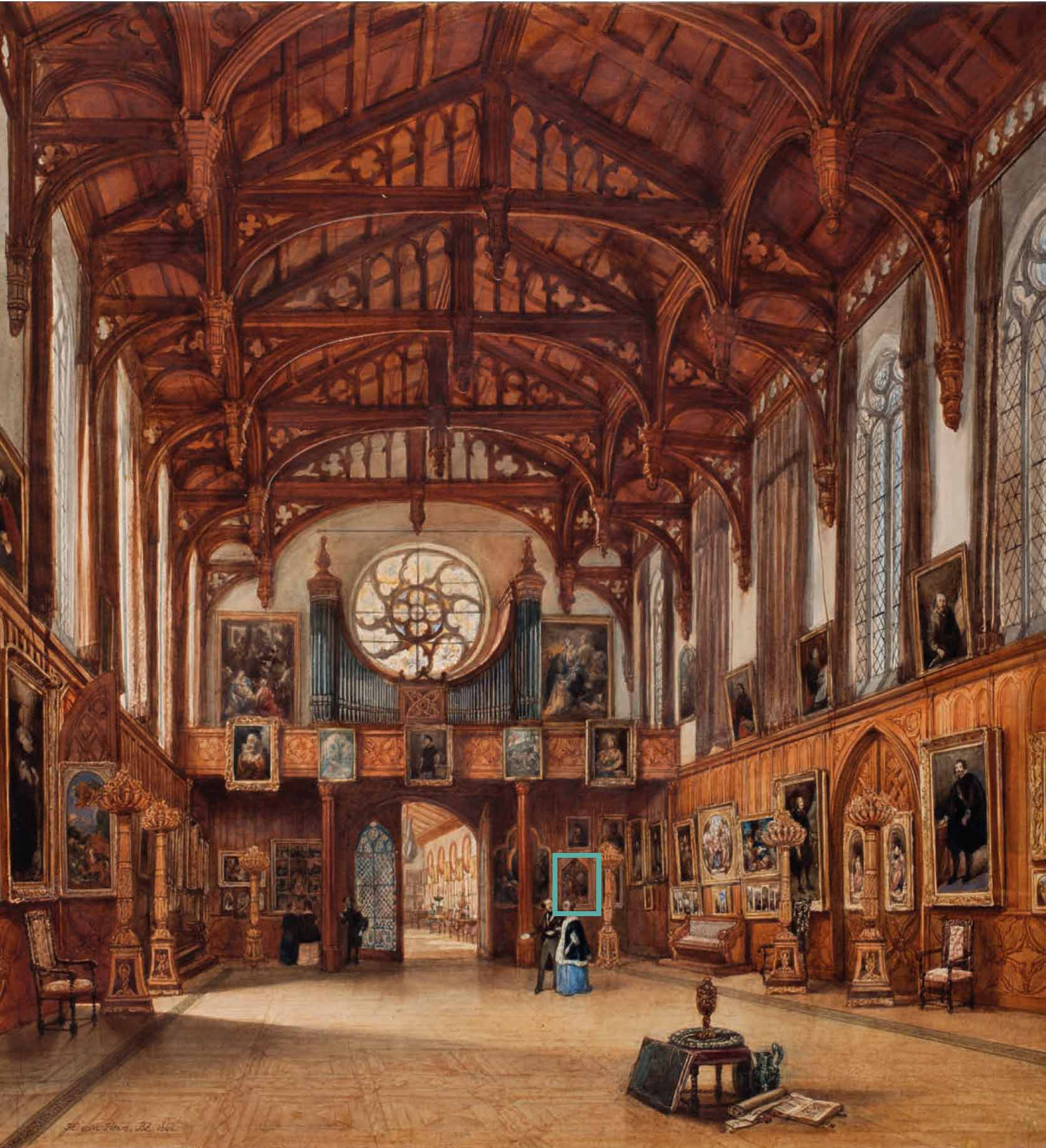 The Art Collection of Willem II, in the Gothic Hall, Kneuterdijk Palace, The Hague. Watercolour by Huib van Hove, 1842 © Royal Collections, the Netherlands, www.koninklijkeverzamelingen.nl
