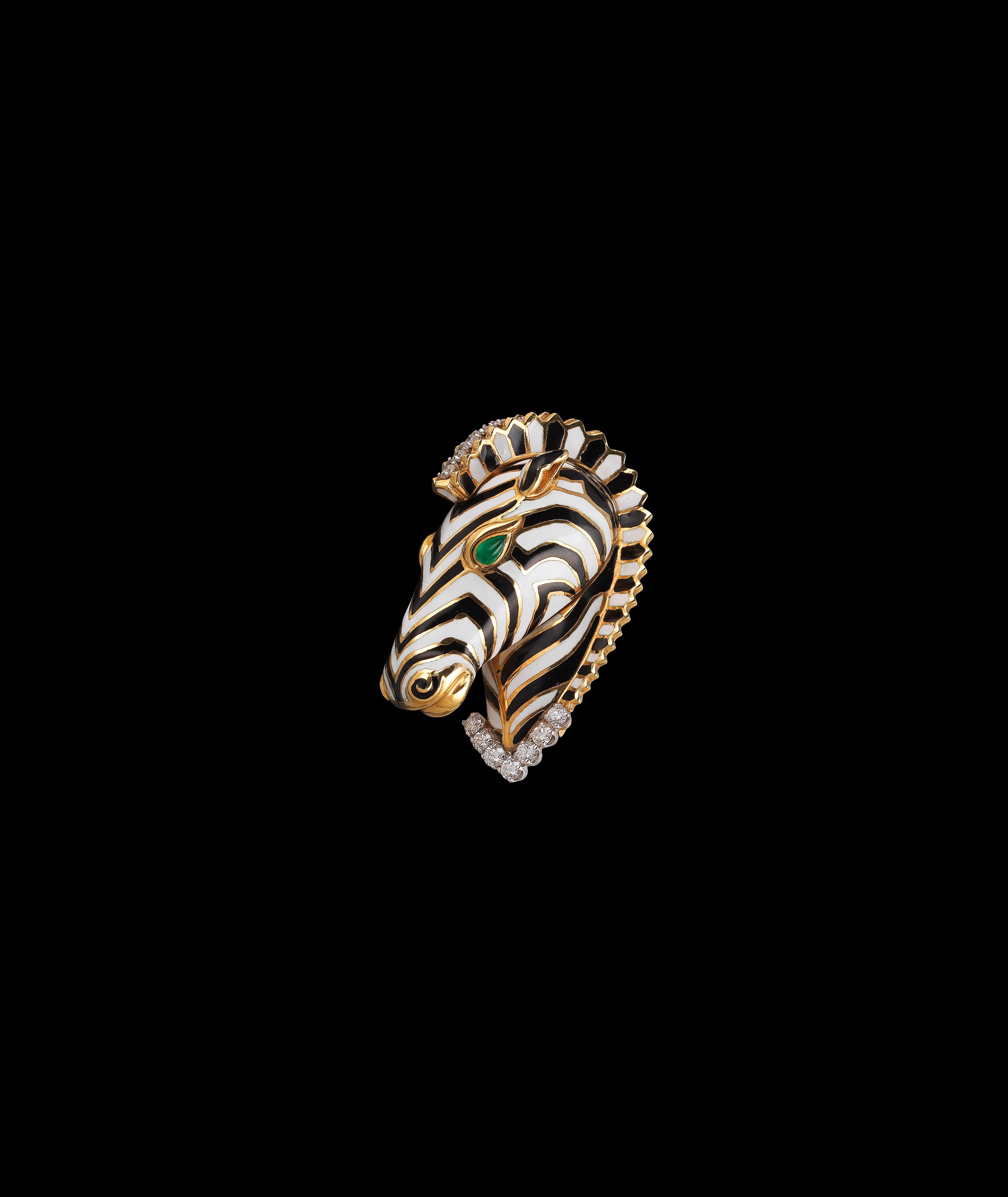 A Kingdom Zebra Brooch by David Webb, gold 750, brilliants total weight c. 1 ct, emerald cabochons, c. 1970 € 7,000 - 10,000