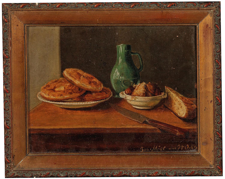 Josef Mösl (1821-1851), Zwei Stillleben mit Wasserglas bzw. Weinkrug,1841 Öl auf Papier auf Karton, je 17,5 x 22,5 cm, Starpreis€ 1.000