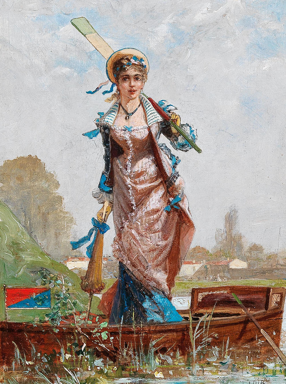 Luigi Loir (1845-1916), Sonntagsausflug mit dem Ruderboot, Öl auf Leinwand, 27 x 20 cm, Startpreis € 2.200
