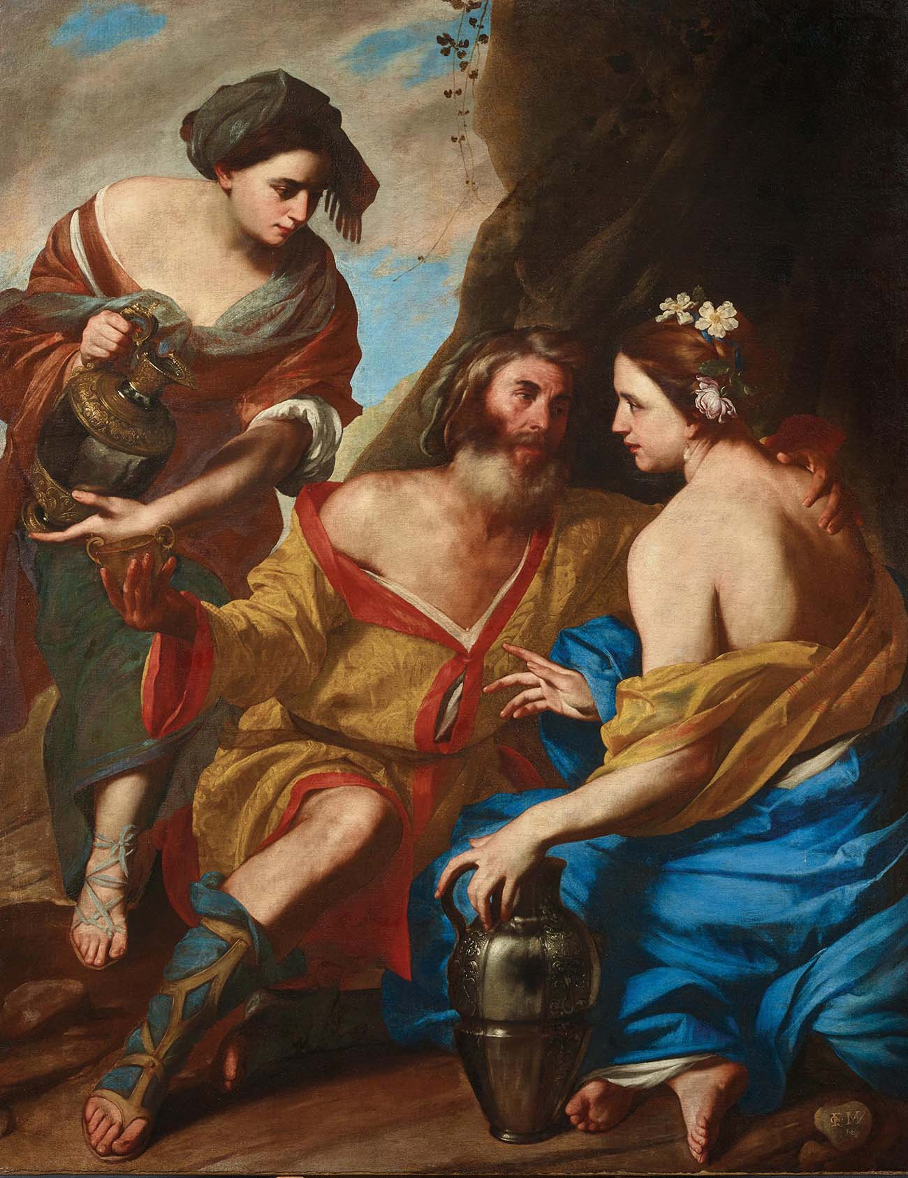 Massimo Stanzione,Lot and his daughters, signed with an entwined monogram lower right, oil on canvas, 166.5 x 130.5 cm, estimate € 200,000 - 300,000