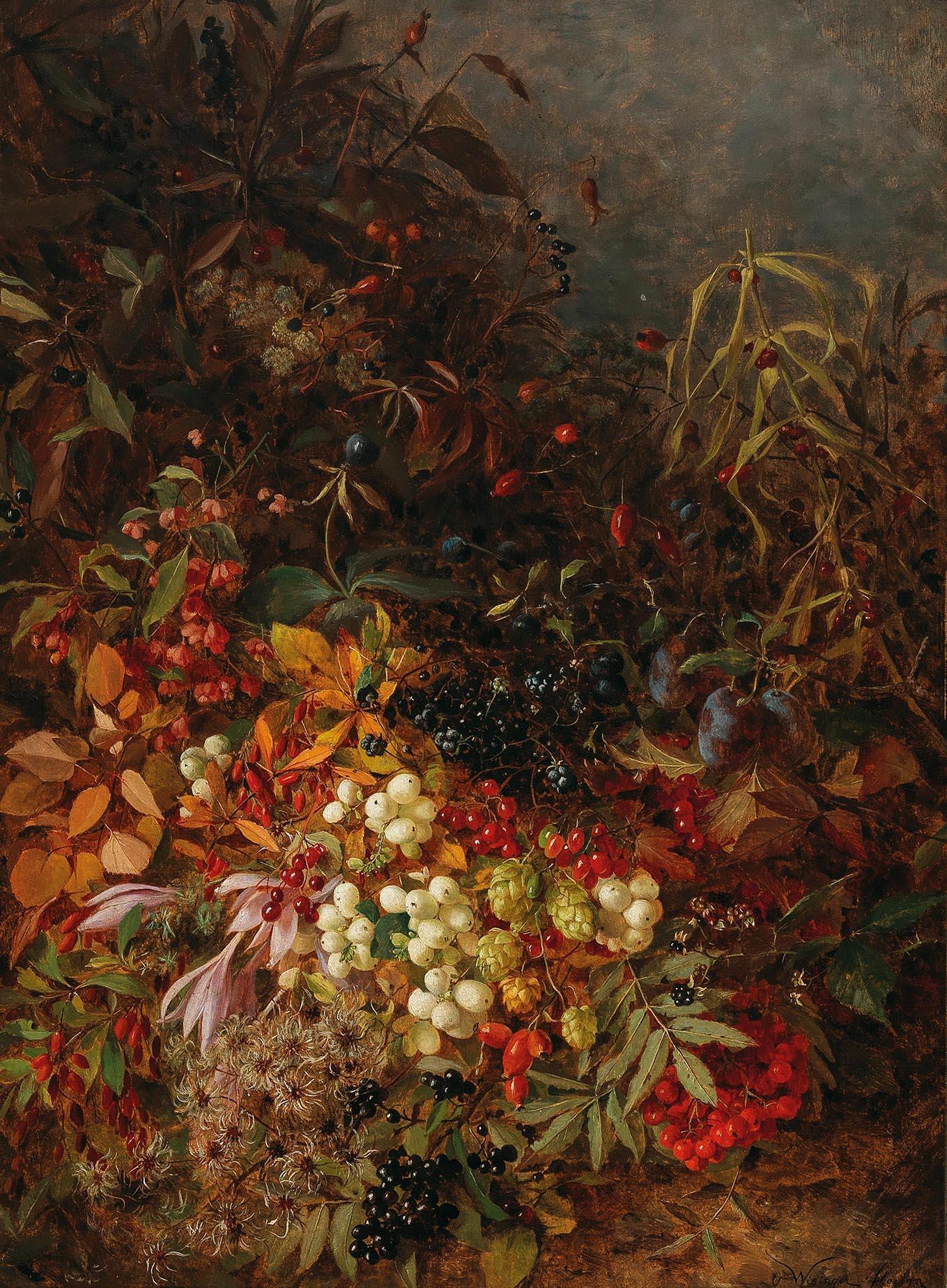 """""""October"""", rückseitig auf altem Etikett betitelt und bezeichnet, signiert O. Wisinger-Florian, Öl auf Holz, 65 x 49 cm, Schätzwert € 60.000 - 80.000"""