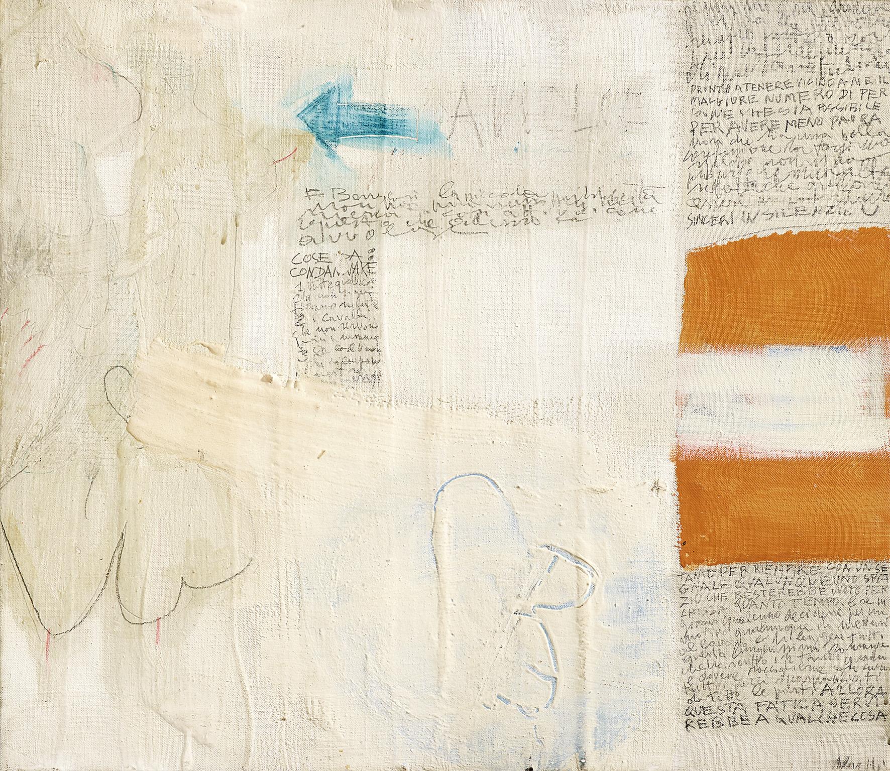 Gastone Novelli, Con un segnale, 1960, Bleistift, Öl und Mischtechnik auf Leinwand, 60,5 x 70 cm, € 65.000 – 85.000