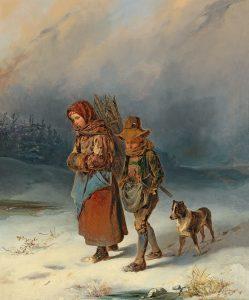 Johann Matthias Ranftl Die jungen Reisigsammler, 1850 Öl auf Holz, 63 x 49,5 cm, € 18.000 – 25.000