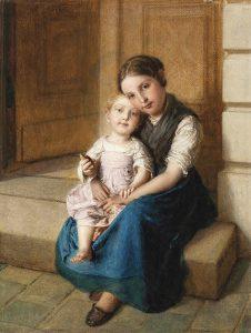 Johann Baptist Reiter (1813–1890), Geschwisterliebe, Öl auf Leinwand, 25 x 19 cm, € 7.000 – 10.000