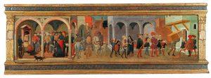 Florentiner Schule, 15. Jahrhundert, Die Gerechtigkeit Trajans, Tempera und Gold auf Holz, Schauseite eines Cassone, 63 x 183 cm (gesamt), 42 x 165 cm (bemalte Fläche), € 180.000 – 220.000