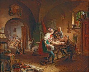 Eduard Ritter, Die Dorfschule, 1845 Öl auf Holz, 65,5 x 79 cm, € 10.000 – 14.000