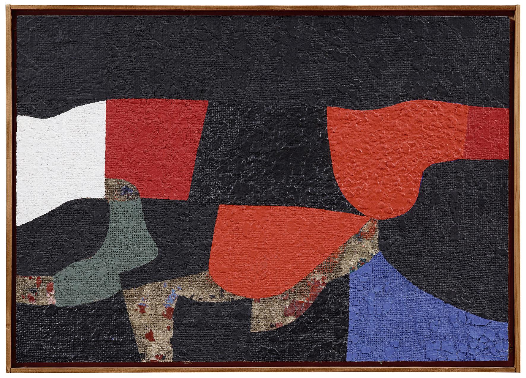 Alberto Burri ,Ohne Titel, 1947/1988, Acryl und Vinylkleber auf Leinwand auf Tafel, im Künstlerrahmen, 44 x 61,5 cm, € 140.000 – 180.000