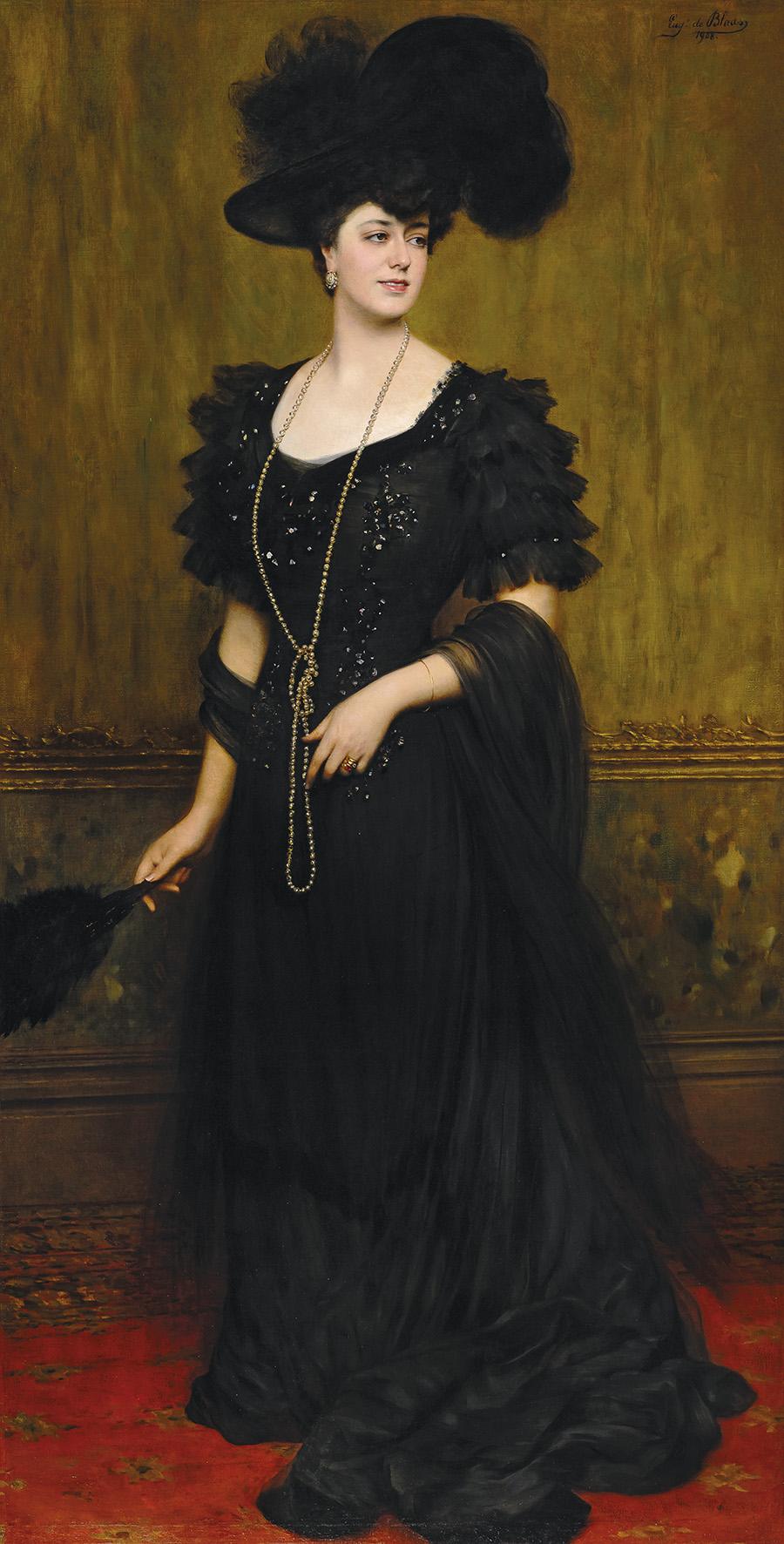 Eugen von Blaas (1843–1931), Bildnis der Madame Lebreton, 1908, Öl auf Leinwand, 225 x 116 cm, € 150.000 – 200.000