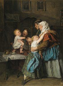 Ferdinand Georg Waldmüller (1793–1865) Der Besuch der Großeltern, Öl auf Holz, 49,5 x 36,5 cm, € 80.000 – 140.000