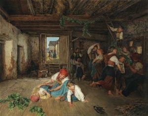 Ferdinand Georg Waldmüller, Vorbereitung zum Weinlesefest, 1860 Öl auf Holz, 63,5 x 81 cm, € 120.000 – 180.000