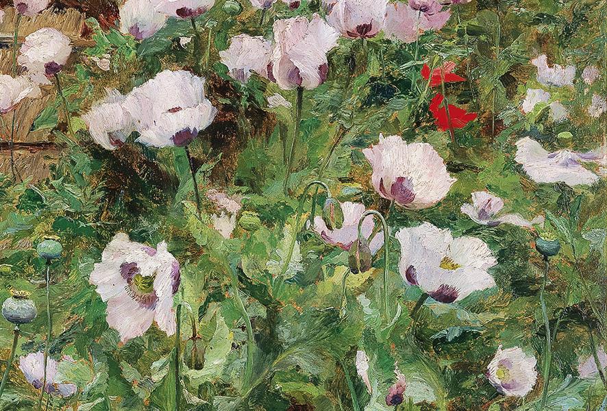 Olga Wisinger-Florian (1844–1926), Im Bauerngarten (Detail), Öl auf Karton, 77,5 x 94 cm, € 250.000 – 350.000