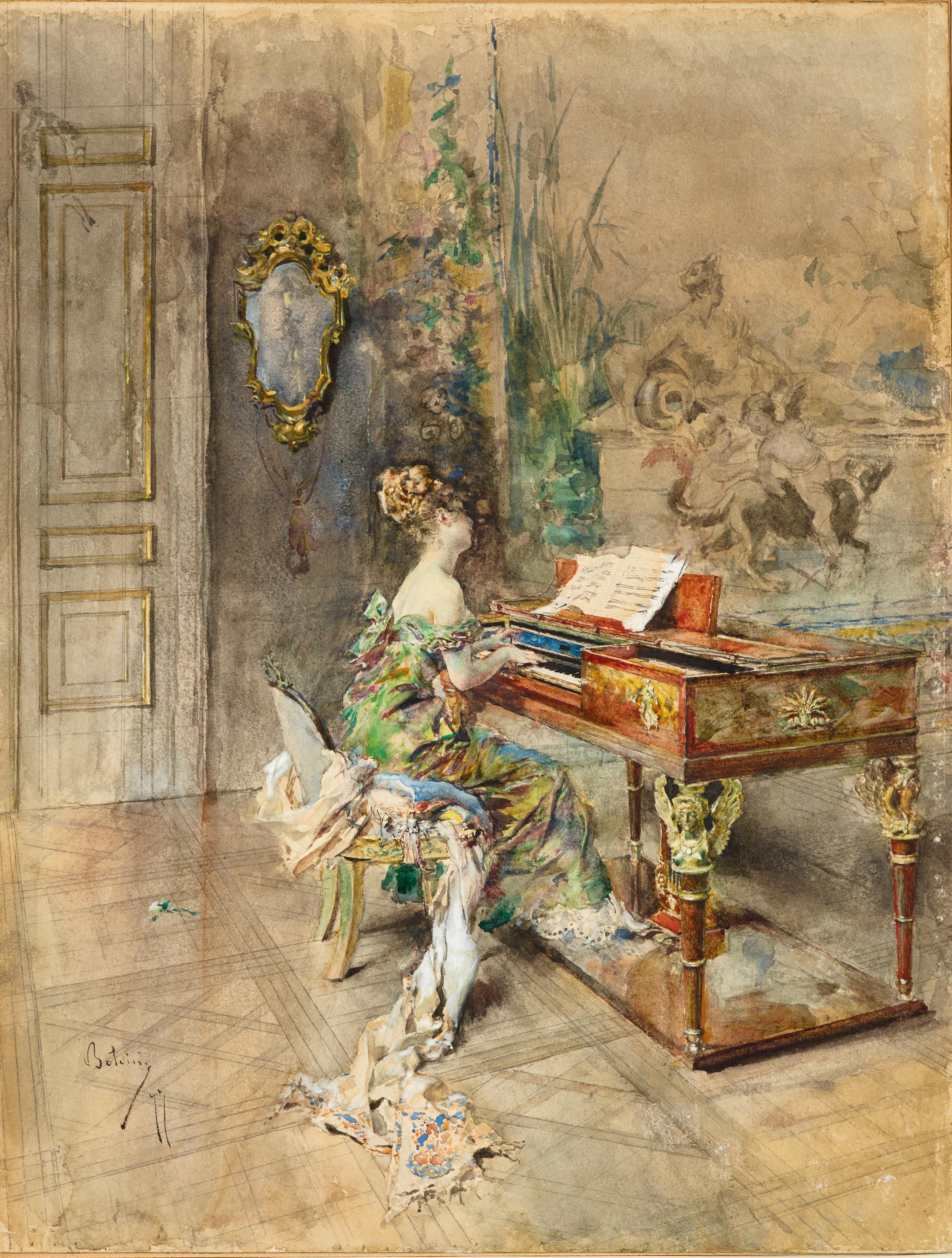 Giovanni Boldini (1845–1931), Pianista in abito settecentesco, (18)77, Aquarell auf Papier auf Karton, 39 x 30 cm, € 50.000 – 70.000