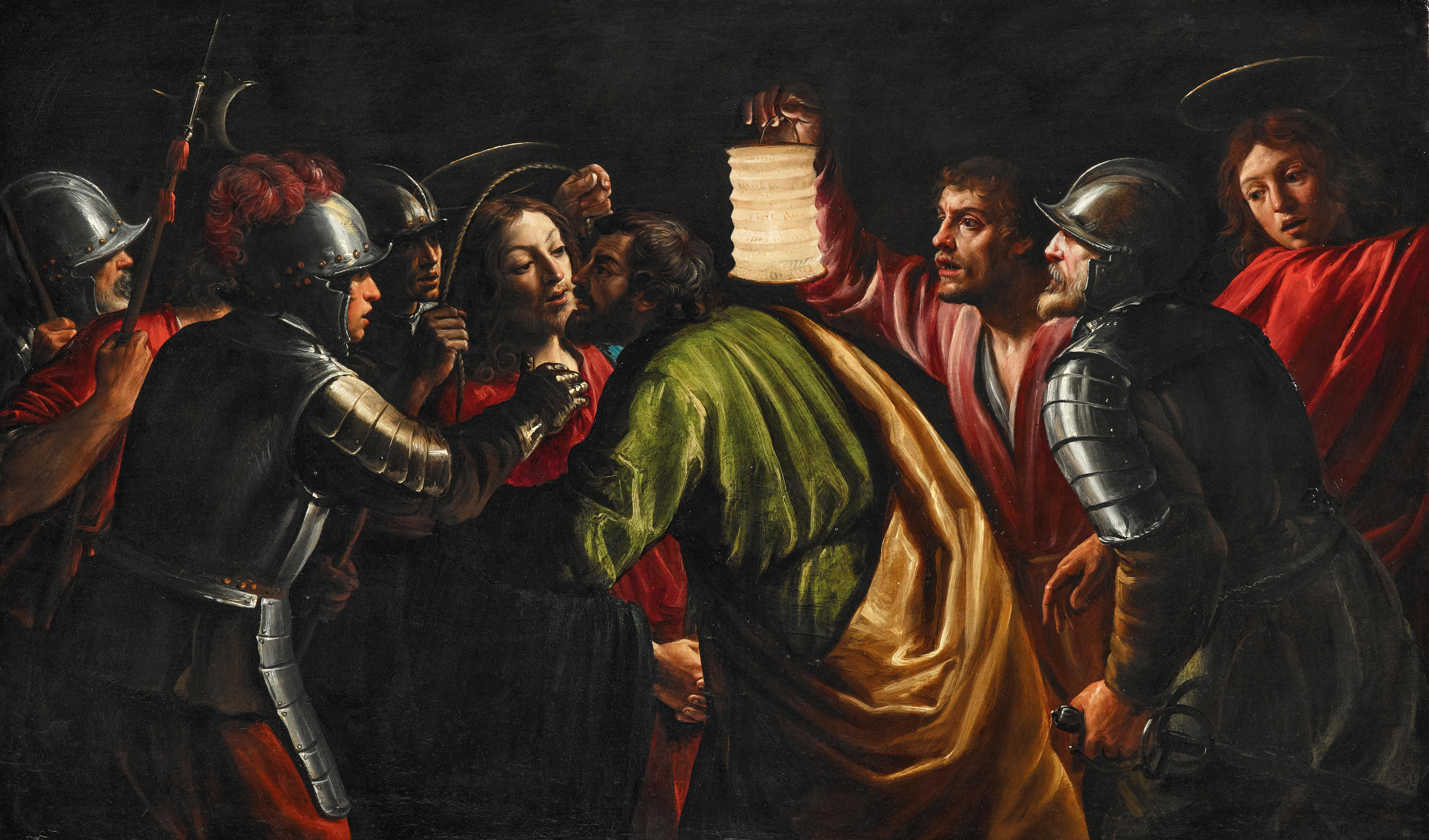 Giuseppe Vermiglio (Alessandria 1585–1635), Die Gefangennahme Christi, Öl auf Holz, 53,1 x 89,6 cm, gerahmt, Schätzwert € 400.000 – 600.000