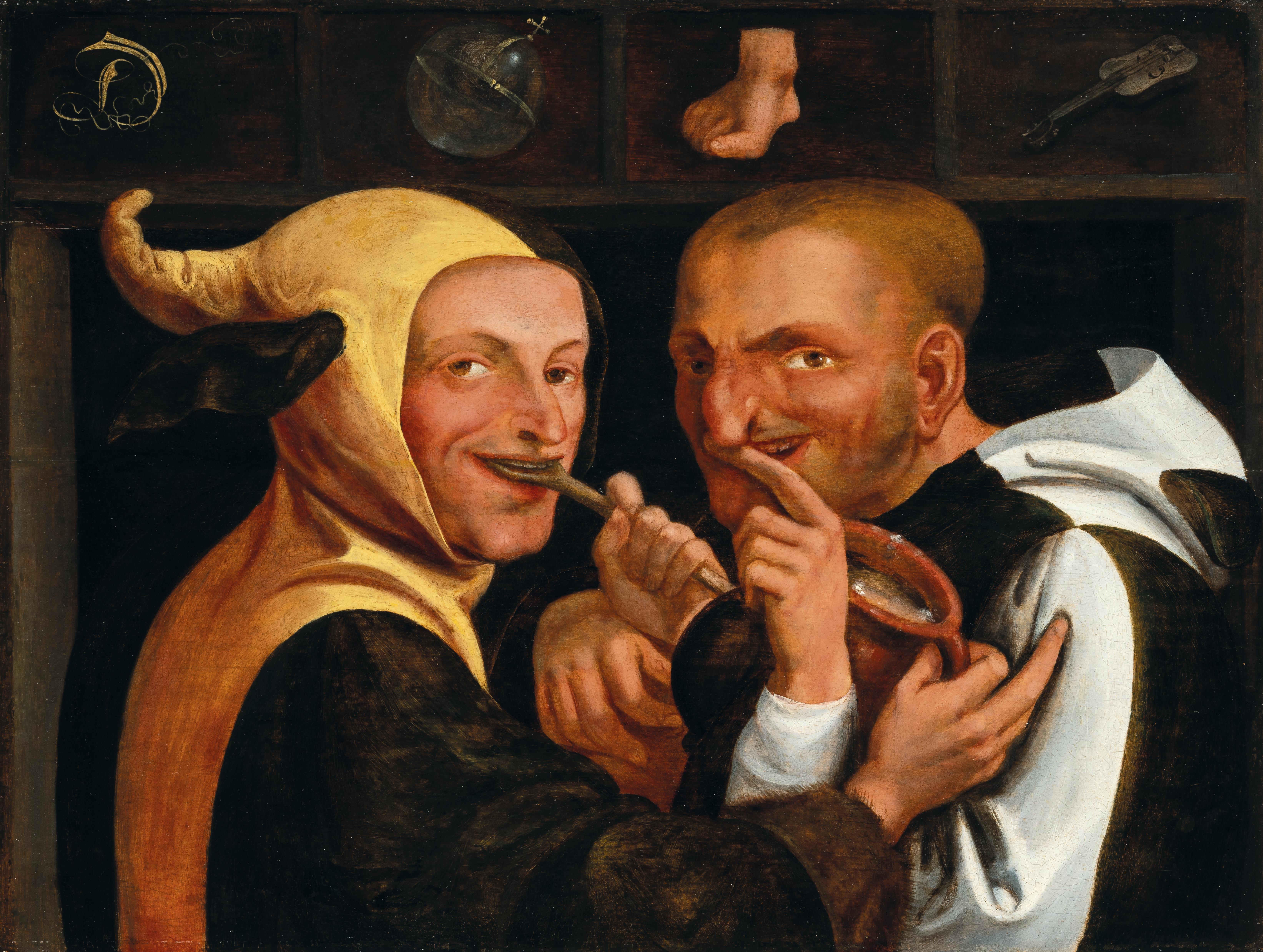 """Niederländische Schule, 16. Jahrhundert, """"De wereld voedt vele zotten"""" – Die Welt ernährt viele Narren, Öl auf Holz, 36,5 x 48,5 cm, gerahmt, Schätzwert € 120.000 – 180.000"""