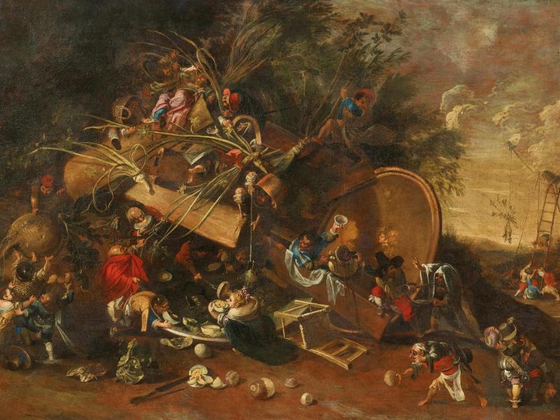 Faustino Bocchi (Brescia 1659–1741) Il banchetto con le rape, oil on canvas, 104x154 cm, estimate €60,000 - 80,000