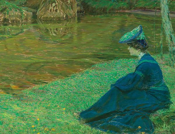 """Maximilian Kurzweil (1867–1916) """"Martha Kurzweil am Ufer in Pont-Aven"""" (""""Weiher""""), ca. 1900, Öl auf Leinwand, 112 x 201 cm, Schätzwert € 25.000 – 35.000"""