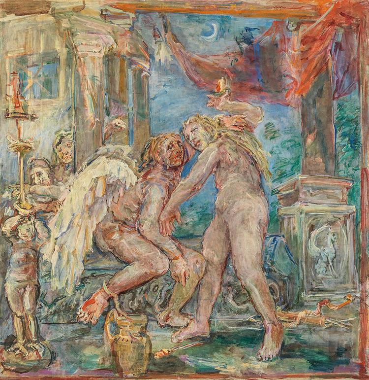 """Oskar Kokoschka (1886–1980), """"Amor und Psyche"""", 1955,Tempera auf Leinwand, 238 x 233 cm, Schätzwert € 300.000 – 500.000"""