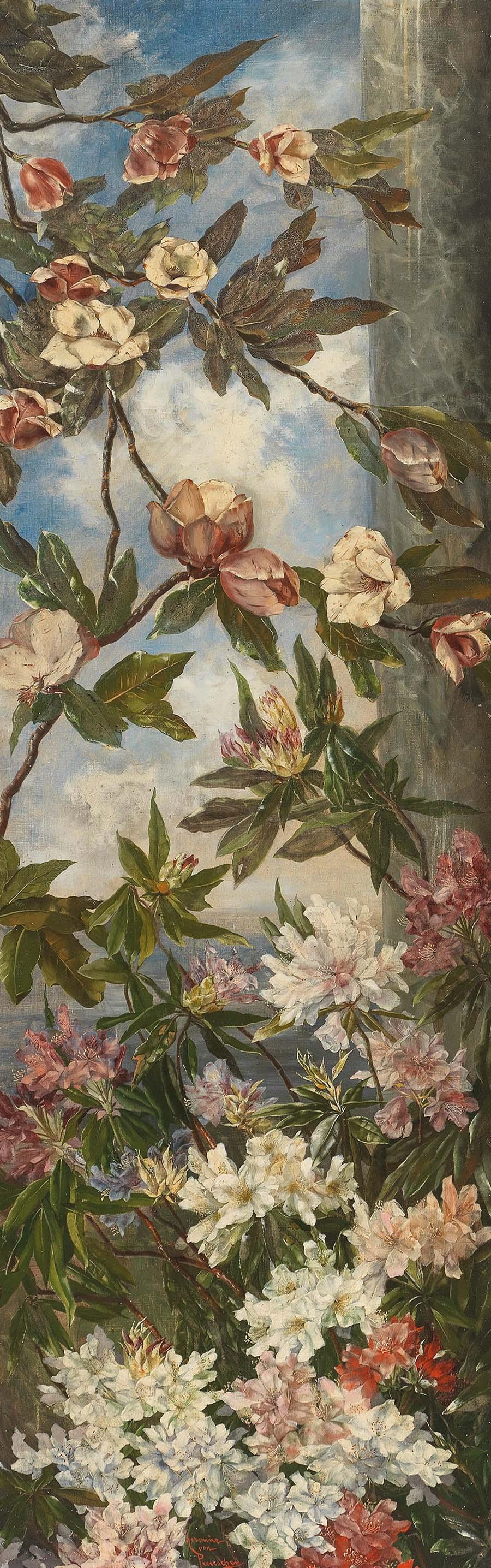 Hermine Freiin von Preuschen (1854-1918) Magnolien und Rhododendron, Öl auf Leinwand, 200 x 66 cm (Gegenstück zu Los 98) Schätzwert € 3.000 – 4.000