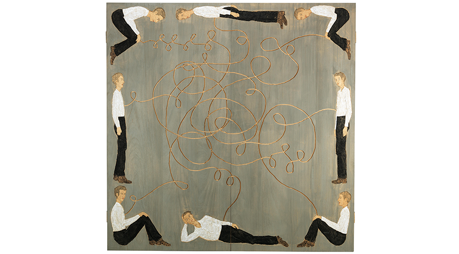 Stephan Balkenhol (born 1957), Untitled, 2002, painted and carved wood, 200 x 200 cm, estimate €60,000 – 90,000