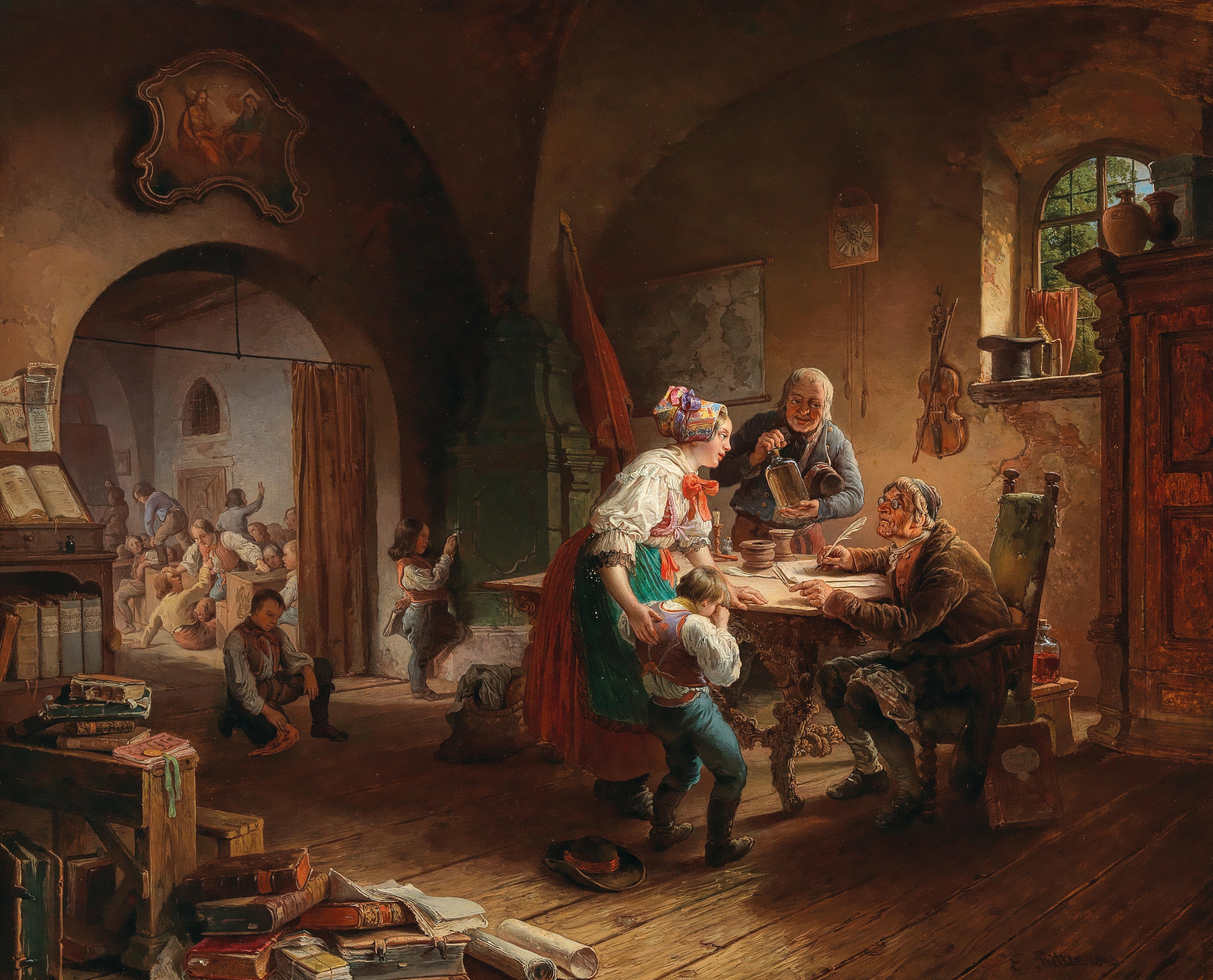 Eduard Ritter, Die Dorfschule, signiert, datiert E. Ritter 1845, Öl auf Holz, 65,5 x 79 cm, Schätzwert € 10.000 – 14.000
