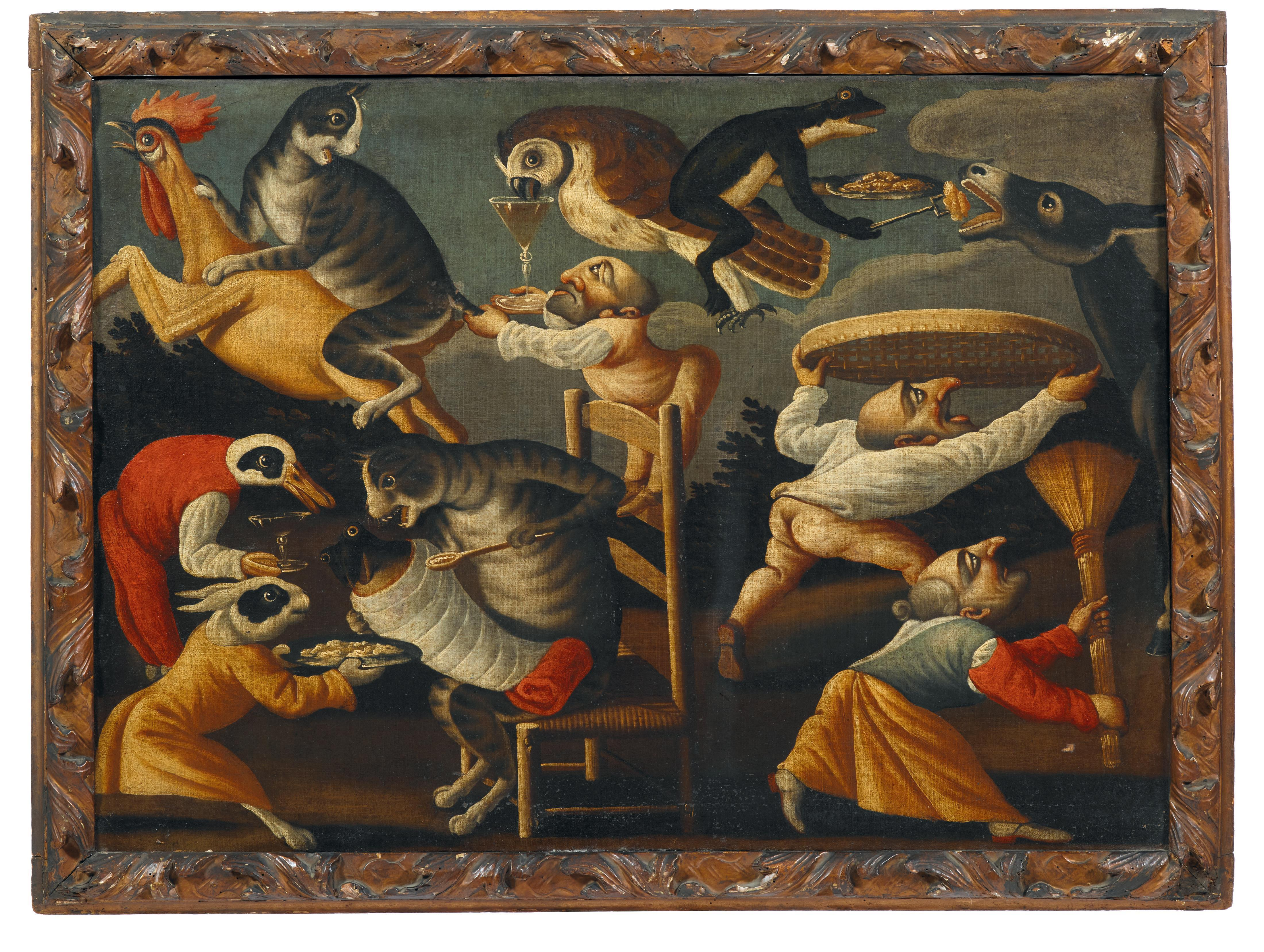 Master of the Fertility of the Egg, (Brescia, active in the 17th Century), A grotesque scene with dwarfs and animals and a frog in swaddling clothes, oil on canvas, 66 x 92 cm, estimate €15,000 - 25,000