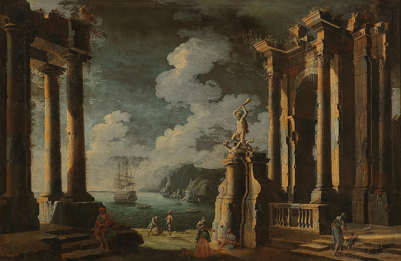 Leonardo Coccorante (Naples 1680–1750) Ruins in a coastal landscape with figures, oil on canvas, 103 x 154.5 cm, estimate €15,000 – 20,000