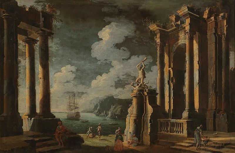 Leonardo Coccorante (1680–1750), Ruinen in einer Küstenlandschaft mit Figuren, Öl auf Leinwand, 103 x 154,5 cm, Schätzwert € 15.000 – 20.000