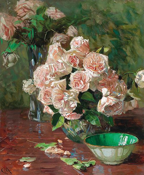Carl Moll Weiße Rosen II, um 1925 Öl auf Leinwand, 60 x 50 cm erzielter Preis € 149.400