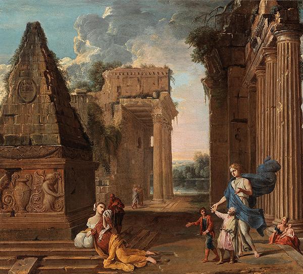 Römische Schule, 18. Jahrhundert Capriccio mit Figuren zwischen Ruinen, Öl auf Leinwand, 70,5 x 79 cm Schätzwert € 6.000 – 8.000