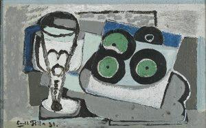Emil Filla, Stillleben mit Schallplatten, 1931 Öl auf Leinwand, 23 x 34 cm, Schätzwert € 60.000 – 80.000