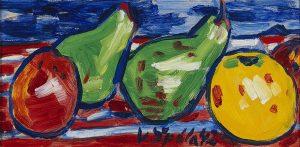 Václav Špála, Stillleben mit Birnen und Äpfeln, 1942 Öl auf Karton, 15 x 27 cm Schätzwert € 10.000 – 15.000