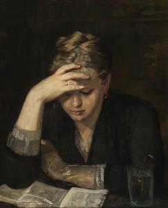 Marie Bashkirtseff (Gawronzy 1860–1884 Paris), Die Lesende (Portrait von Dina Babanina, einer Cousine der Künstlerin), Öl auf Leinwand auf Platte, 64 x 53 cm, Schätzwert € 25.000 – 35.000