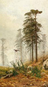 Andrej Nikolajevich Schilder (1861–1919) Nebelstimmung im Wald Öl auf Leinwand, 191 x 111 cm Schätzwert € 30.000 – 40.000